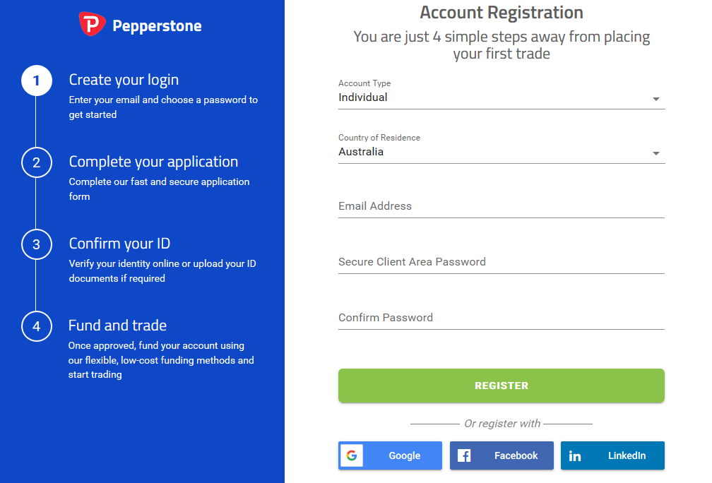 Pepperstone Review: Account Registration