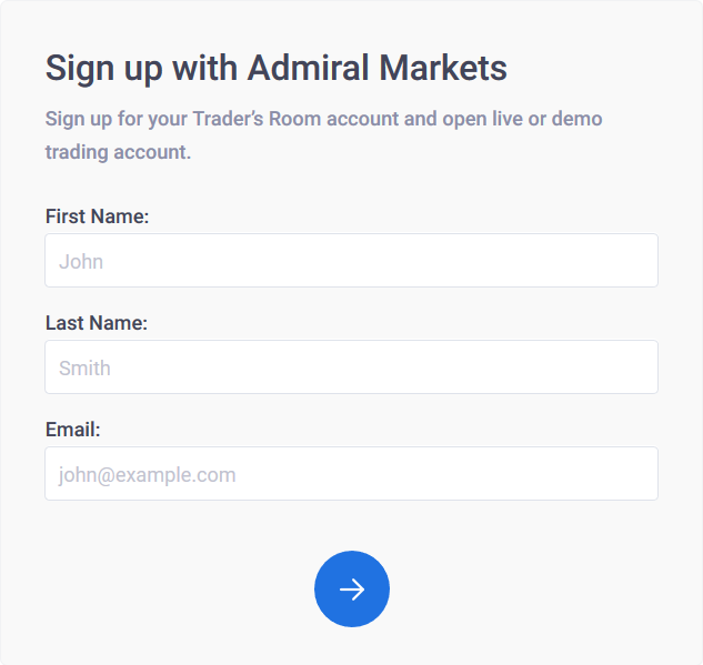 Admiral Markets Review: Sign Up Form