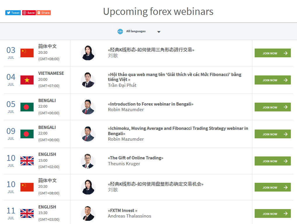 FXTM Review: Webinars
