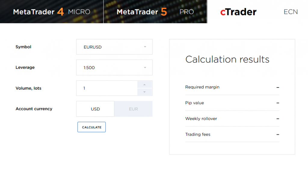 OctaFX Review: Trading Calculator