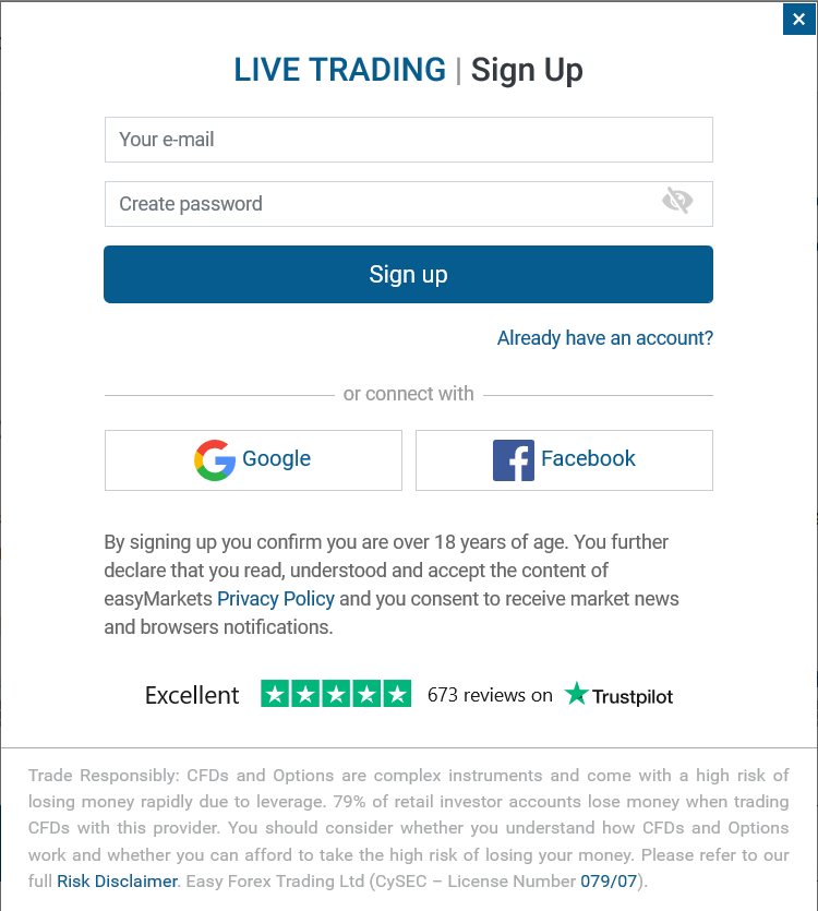 easyMarkets Review: Account Sign Up