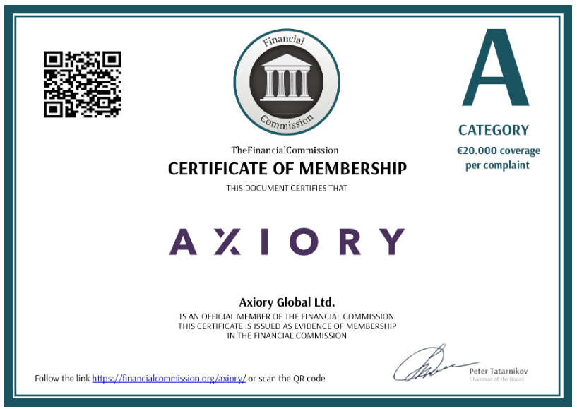 Axiory Review: Financial Commission Certificate