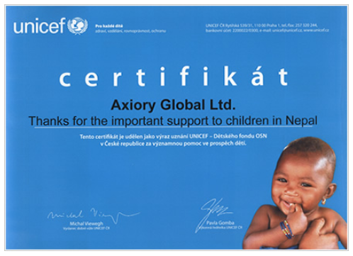 Axiory Review: UNICEF Certificate