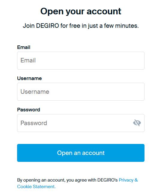 Degiro Review: Account Registration Form