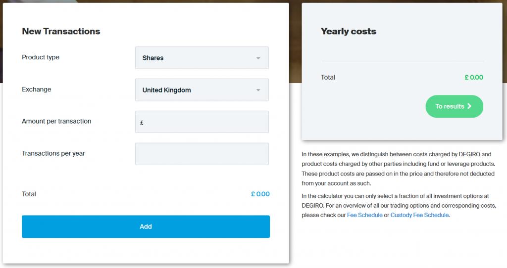 Degiro Review: Cost Calculator
