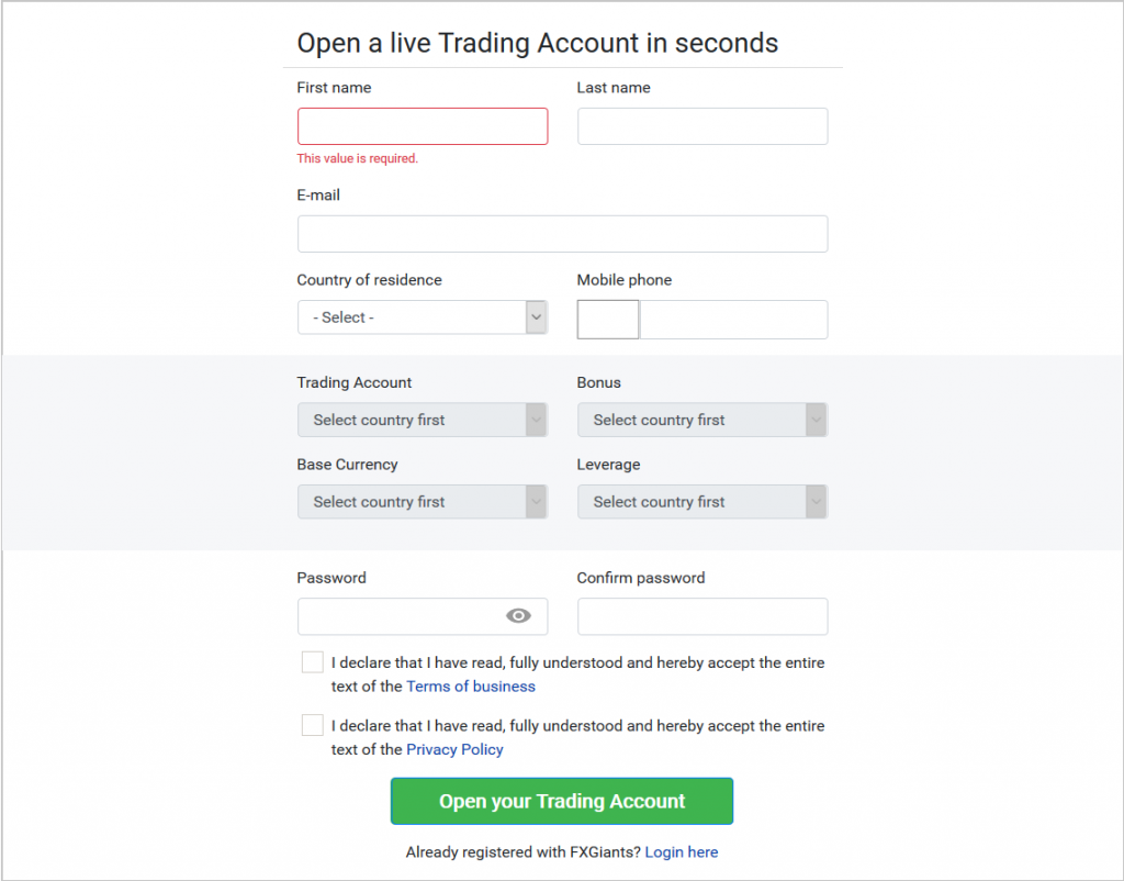 FXGiants Review: Live Account Registration