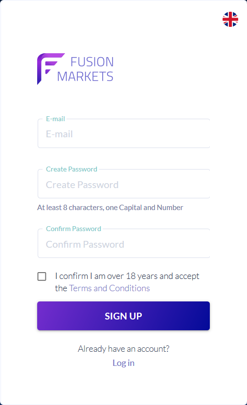 Fusion Markets Review: Sign Up Form