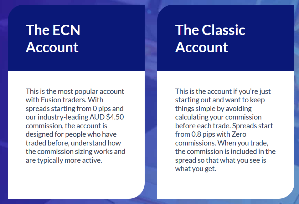 Fusion Markets Review: Trading Accounts