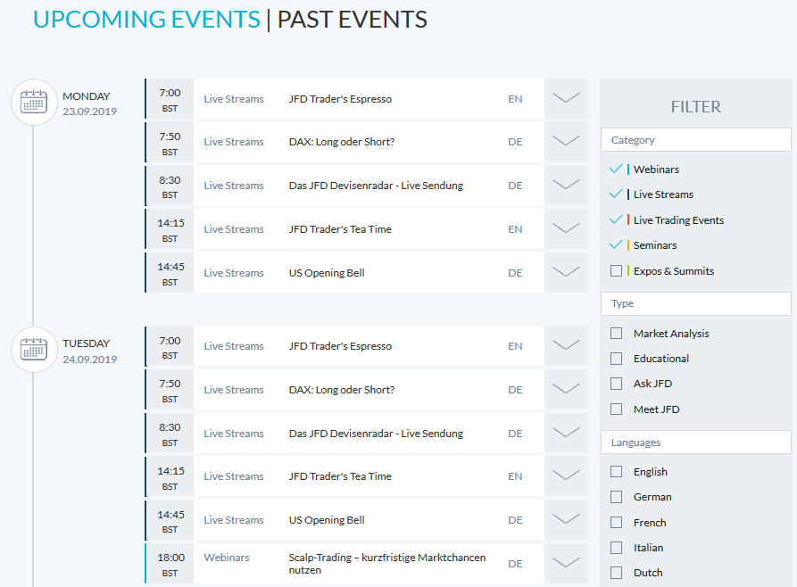 JFD Webinars & Events