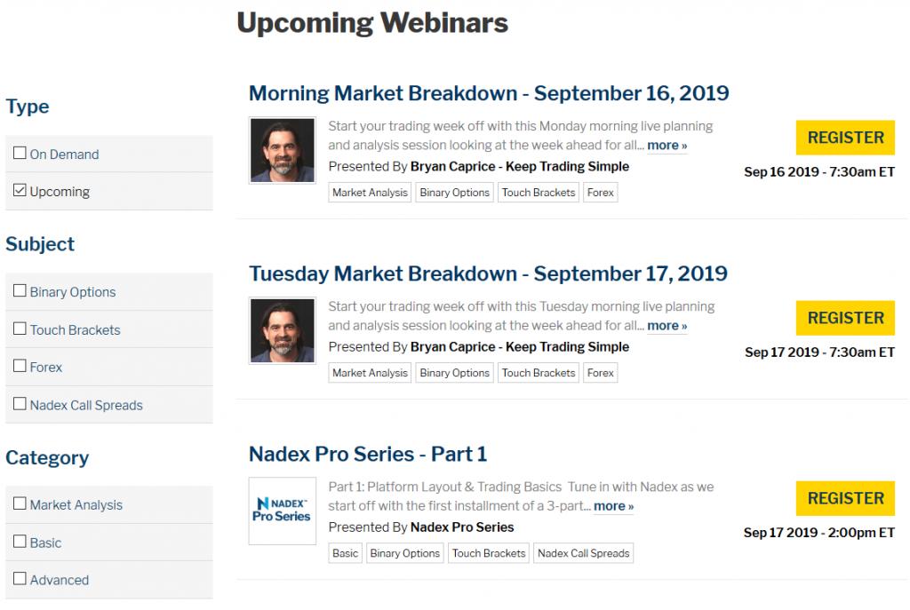 Nadex Review: Webinars
