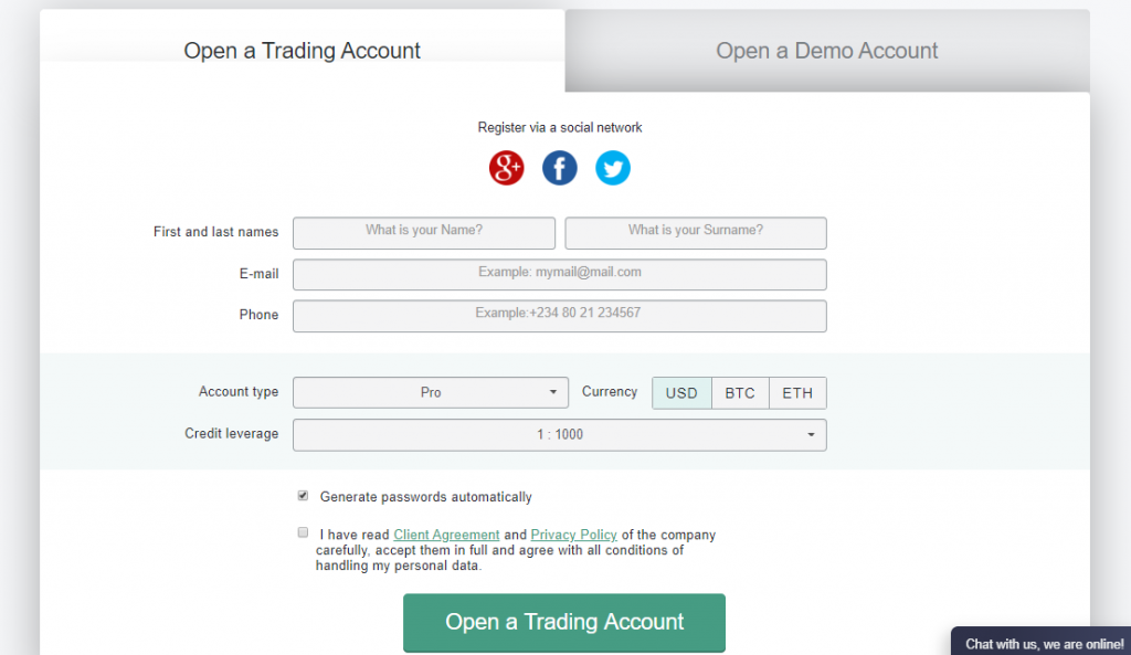 NordFX Review: Account Opening Form
