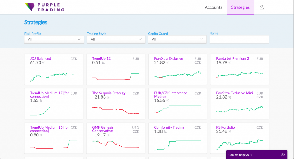 Purple Trading Review: Strategy Providers