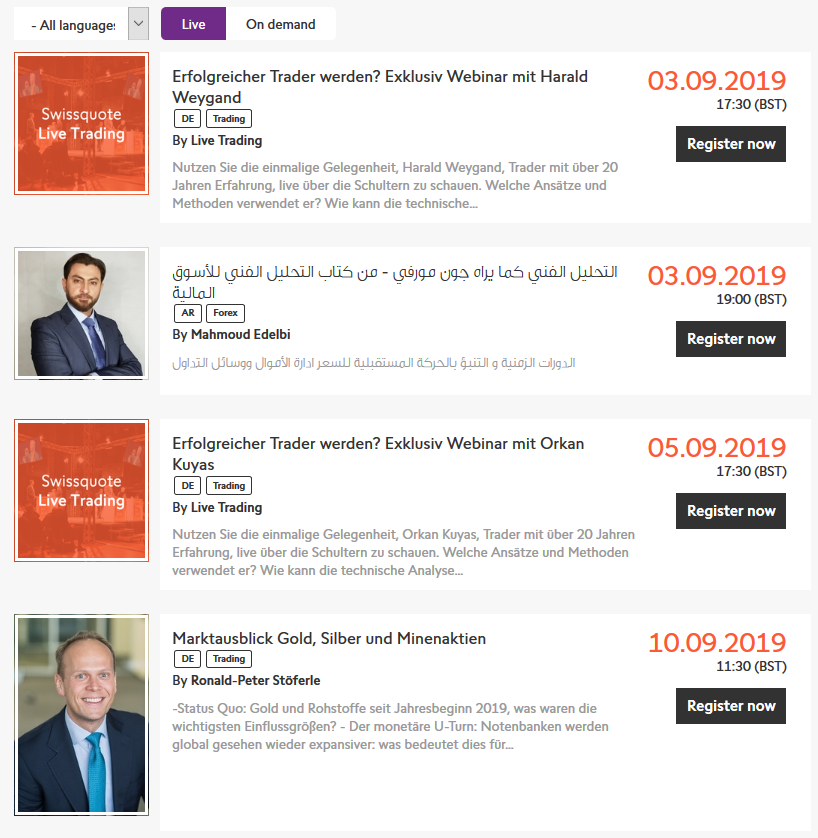 Swissquote Webinars