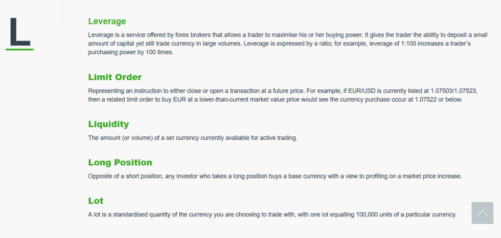 Valutrades Review: Trading Glossary