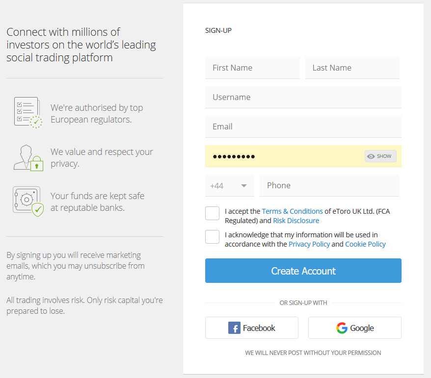 eToro Review: Account Opening Form