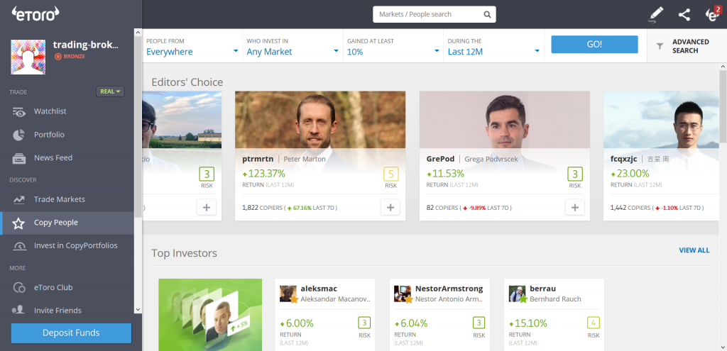 eToro Review: Copy People