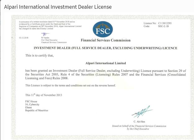 Alpari Review: FSC License