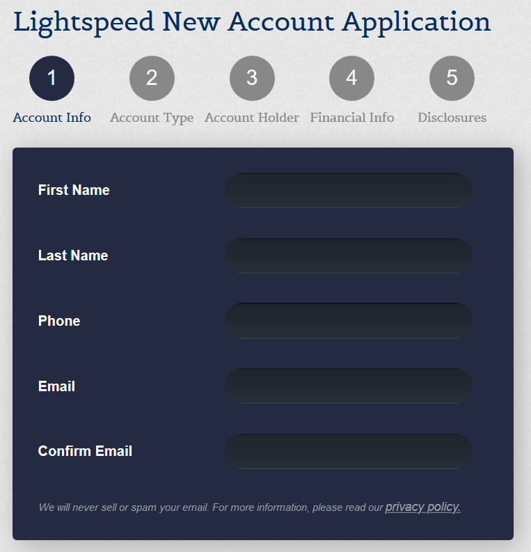 Lightspeed New Account Application