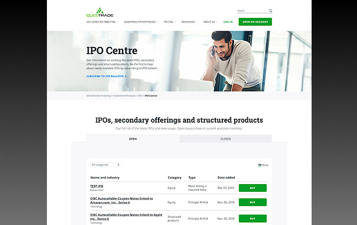 Questrade Review: IPO Centre