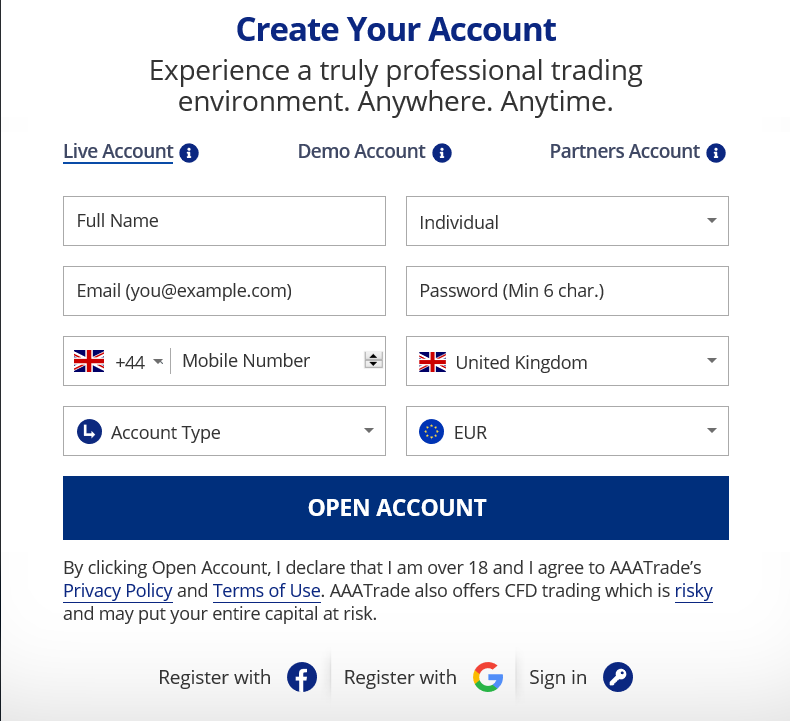 AAATrade Review: Broker Account Form