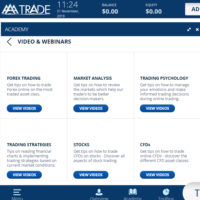 AAATrade Review: Broker Education