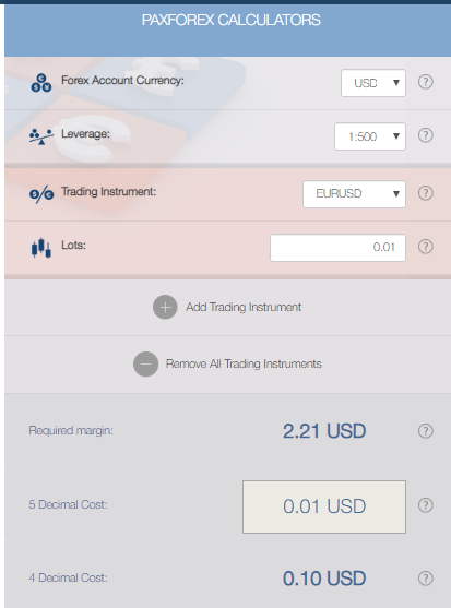 PaxForex Review: Trading Calculators