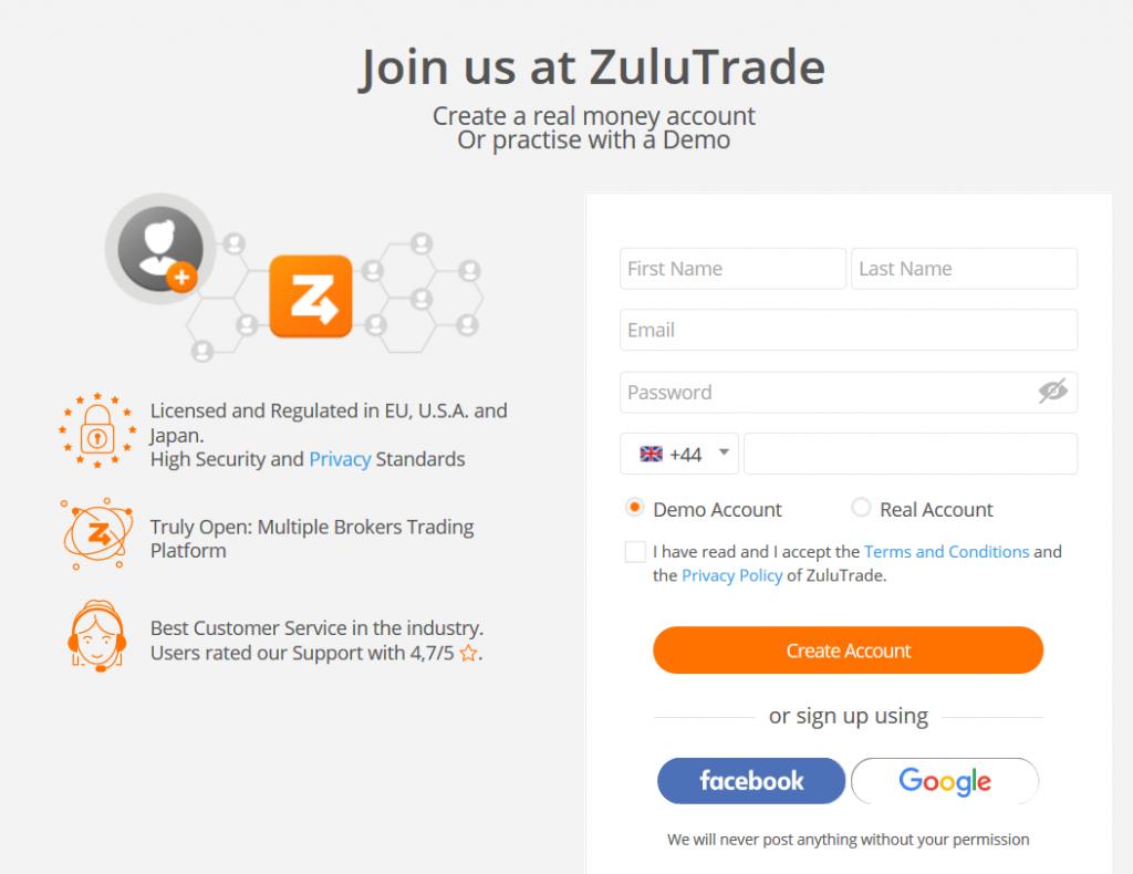 ZuluTrade Review: Registration Form