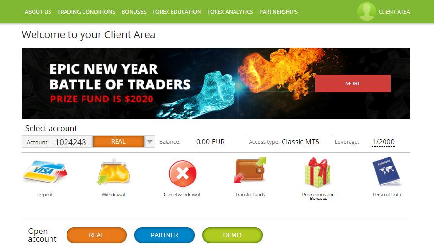 FreshForex Review: Client Area