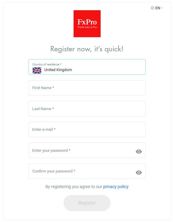 FxPro Registration Form