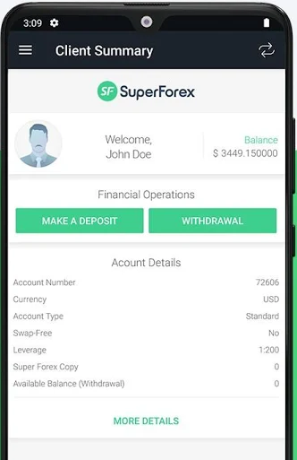 SuperForex Review: Trading Cabinet App