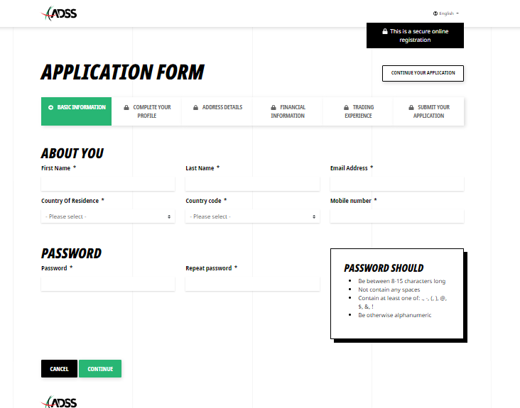 ADSS Review: Broker Account Registration Form