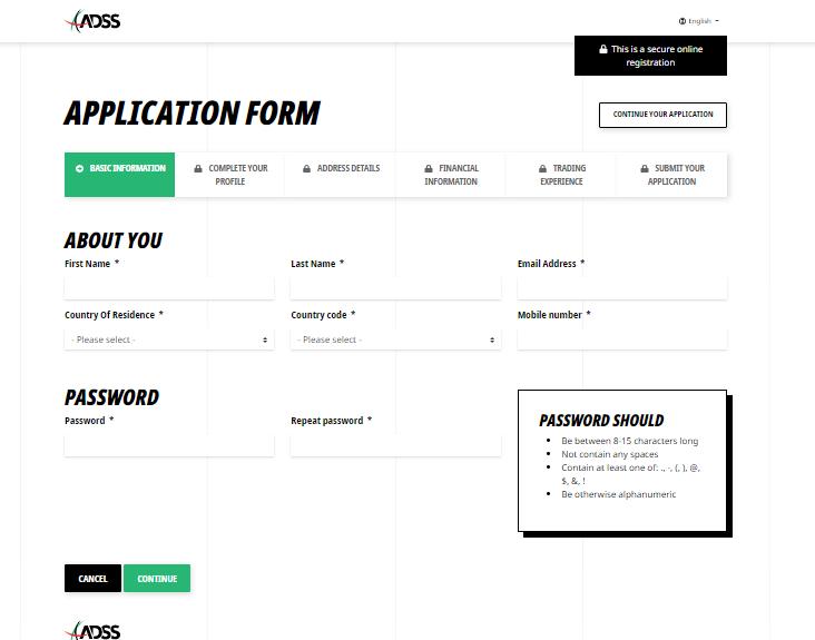 ADSS Broker Account Registration Form