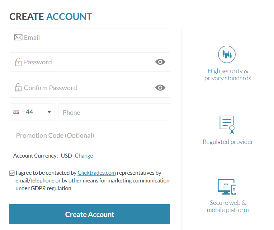 ClickTrades Review: Account Registration