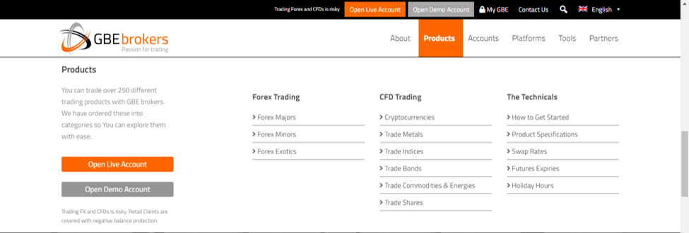 GBE Brokers Review: Trading Instruments