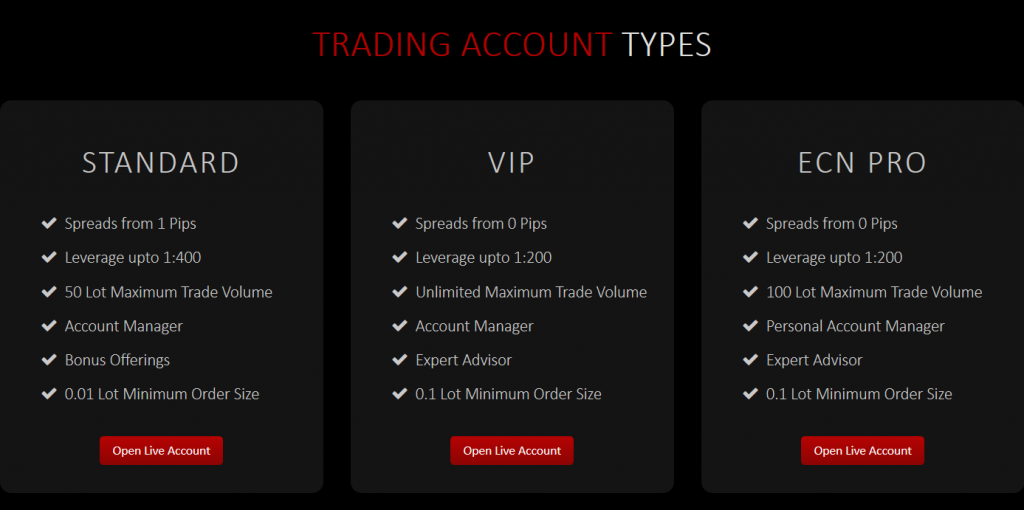 XtreamForex Review: Account Types