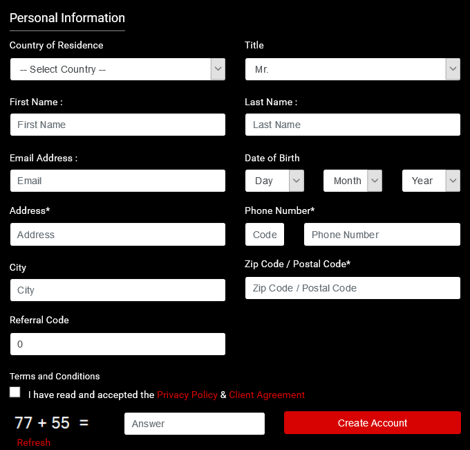 XtreamForex Review: Registration Form