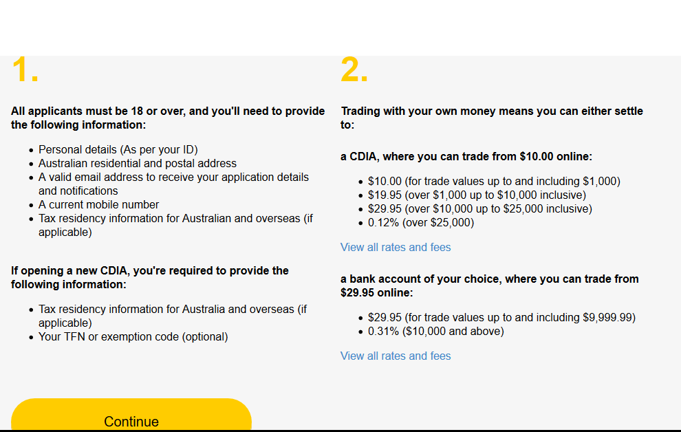 CommSec Review: Account Opening Requirements