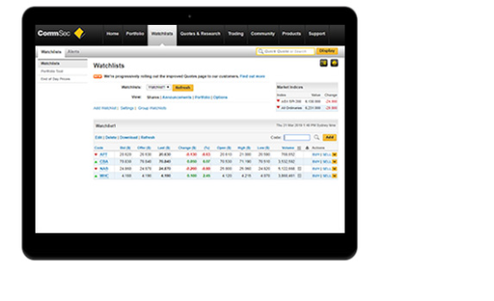 CommSec Review: Stock Watchlists