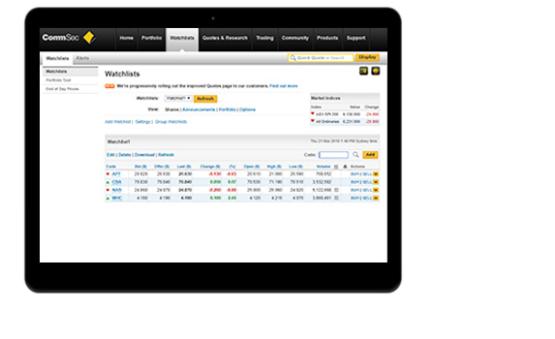 CommSec Stock Watchlists
