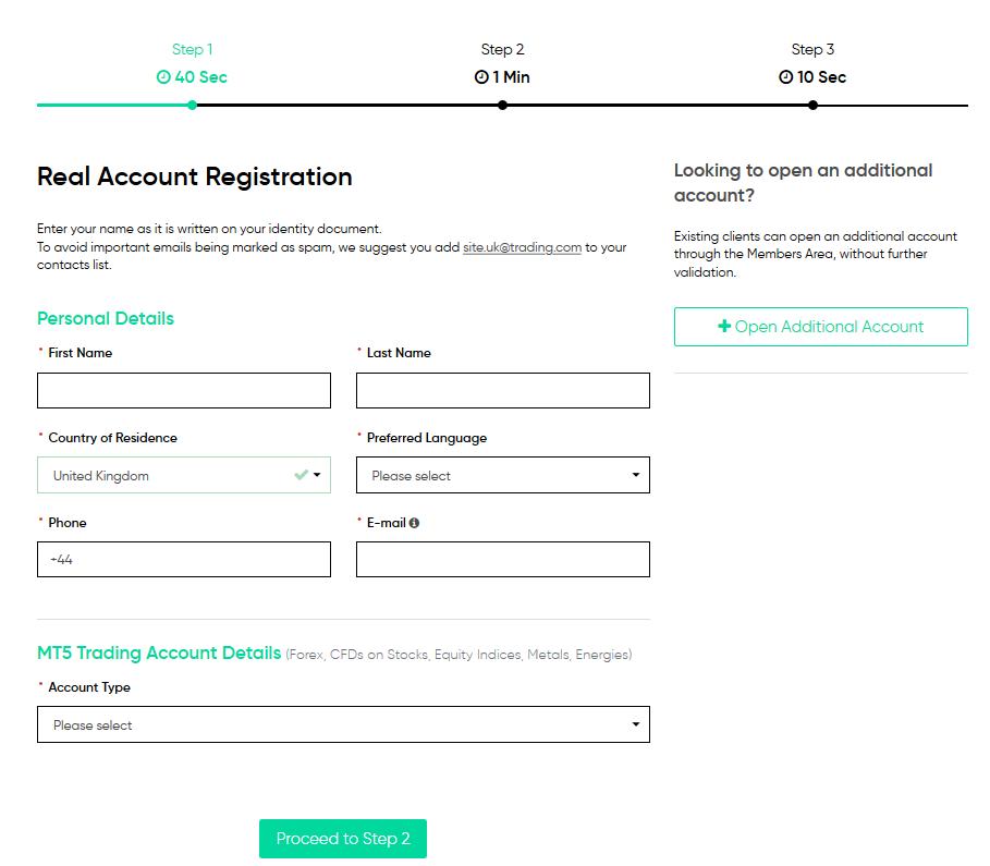 Trading.com Review: Account Registration