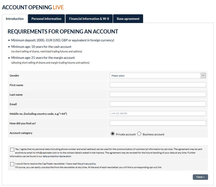 CapTrader Live Account Opening Form