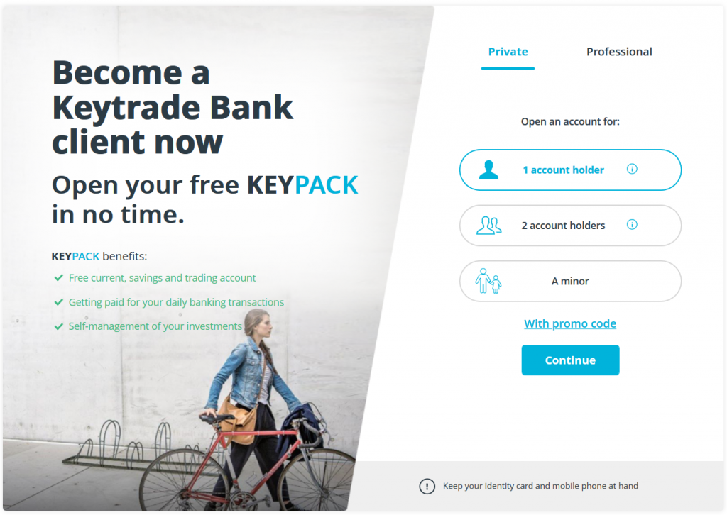 Keytrade Bank Review: Account Opening Form