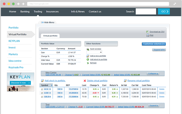 Keytrade Bank Review: Virtual Portfolio