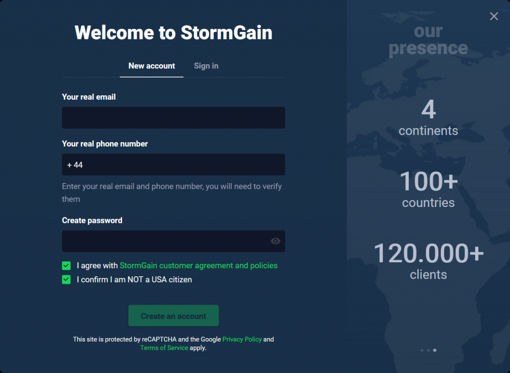 StormGain Review: Account Opening Form