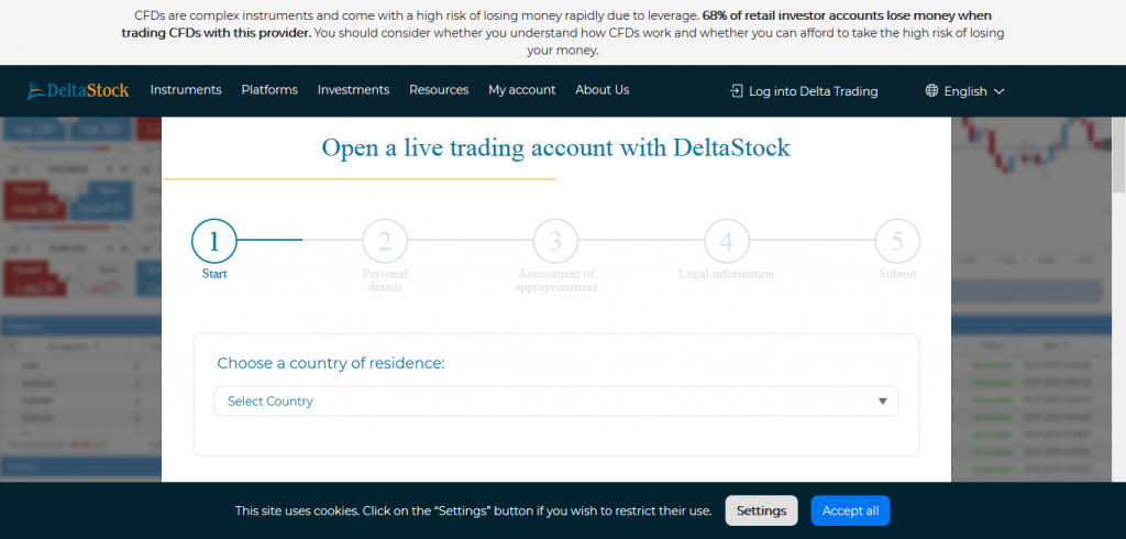 DeltaStock Review: Account Opening Page