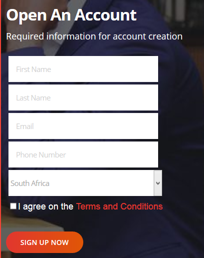 Khwezi Trade Review: Account Opening Page