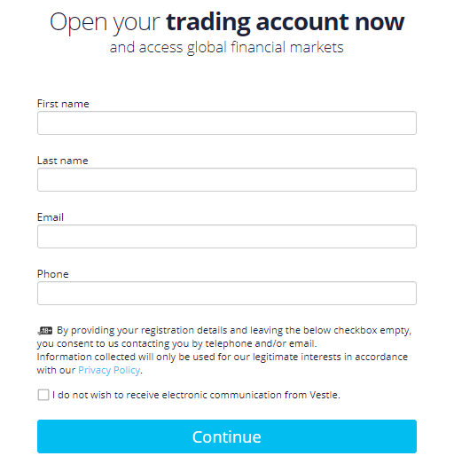 Vestle Review: Account Opening Form