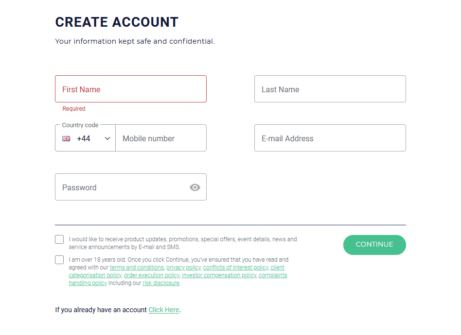 ROinvesting Review: Account Opening Form