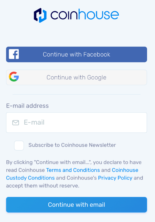 Coinhouse Account Opening Page