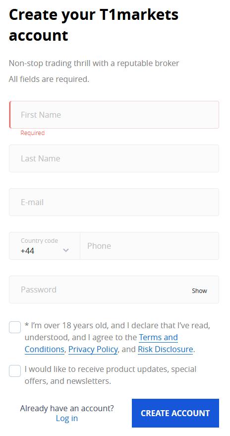 T1Markets Review: Account Registration